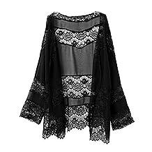 Women Black Hollow Lace Spliced Chiffon Kimono Top Loose Cardigan Coat