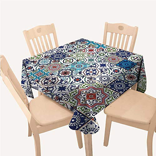 WilliamsDecor Patchwork Decor Theme Mosaic Ceramic View Moroccan Tile Traditional Art Print Eastern Style Reusable Tablecloth Navy Green Red Brown Teal Small Square Tablecloth W36 xL36 inch