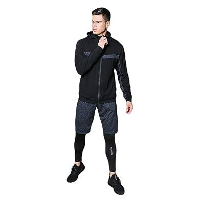 YAANCUNN Homme 3 Pièces Vêtements de Sport avec Manches Longues Veste  Running Short Séchage Rapide pour Jogging Workout Football Cyclisme  Ensemble de ... 395db2662e7