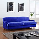 Mid Century Modern Sophisticated Large Brush Microfiber Sofa with Casters (Blue)
