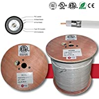 RG6 Quad Shielded Cable 1000FT Coaxial Cable ETL Listed Use With Audio/Video, Radio Frequency and CATV/MATV Transmissions White