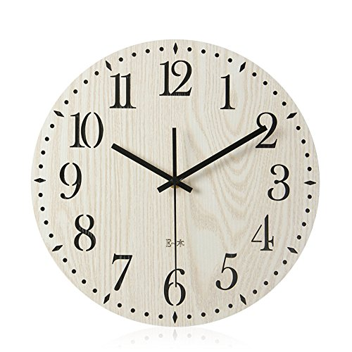 Imoerjia Creative Wall Clock Living Room Bedroom Wall Table Wooden Clocks Clock Mute Art Deco Wall Clock,30Cm by Imoerjia