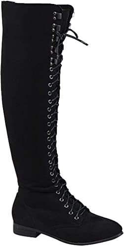 Womens Lace Up Over The Knee Boots