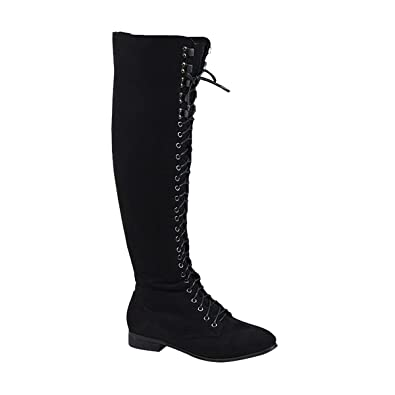 b05c62bf8ed ESSEX GLAM Ladies LACE UP Thigh HIGH Flat Womens Over The Knee HIGH Combat Biker  Boots