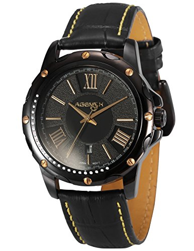 Agent X Men's AGX115 Analog Japanese Quartz Date display Leather Band Wrist Watch