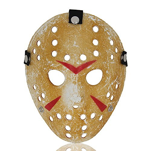 ALIZIWAY Jason vs Freddy Mask Halloween Costume Cosplay Friday The 13th Hockey Yellow (Friday 13th Costume)