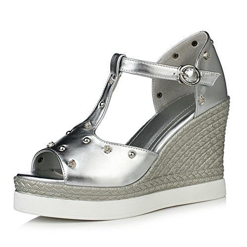 AgooLar Women's Open Toe High Heels Buckle Wedges Sandals Silver