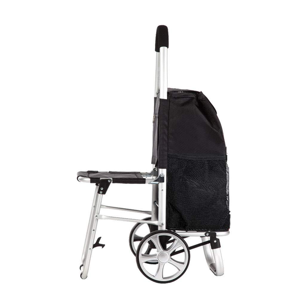 フォールドダウンシート&カートモビリティ援助バッグ付きショッピングカート食料品バスケットキャリアポータブルホイール   B07M8BMN3D