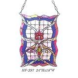 HF-297 Tiffany Style Stained Glass Creative Window Hanging Glass Panel Sun Catcher, 24''Hx18''W