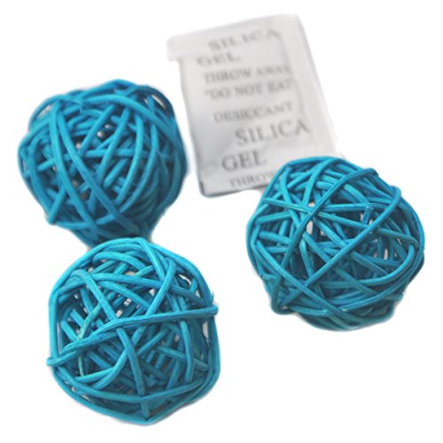 Ougual Set of 6 Wicker Rattan Balls Table Wedding Party Christmas Decoration (Diameter 8cm, Sky Blue) by Ougual