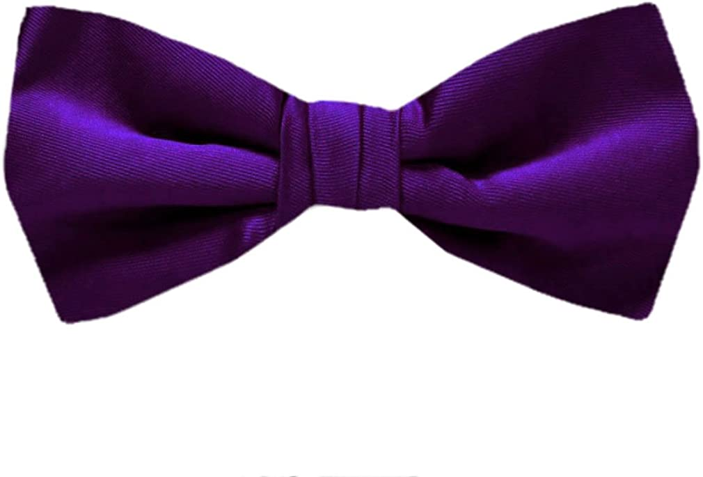 Umo Lorenzo Boys Poly Solid Satin Zipper Ties-Royal Blue