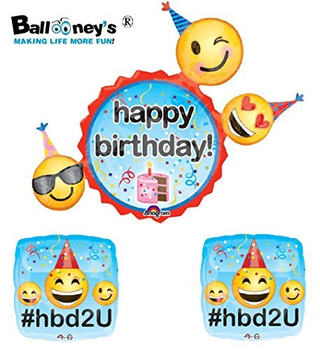 Emoji Happy Birthday Foil Balloon Set