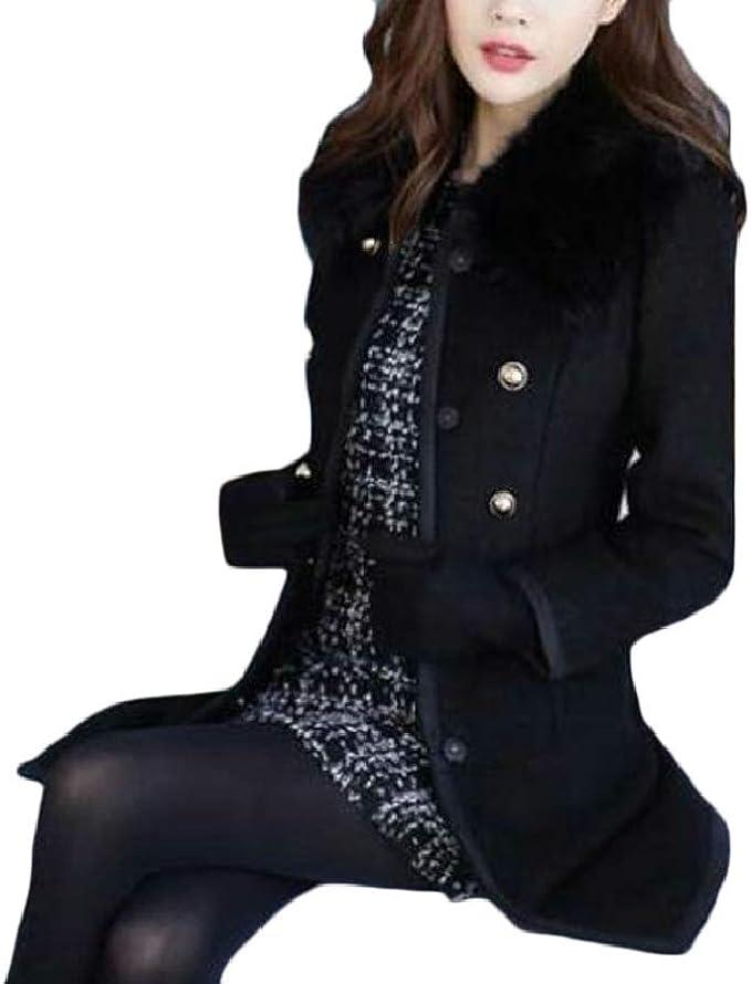ONTBYB Mens Wool Blend Single Breasted Winter Outwear Pea Coats Warm Jacket