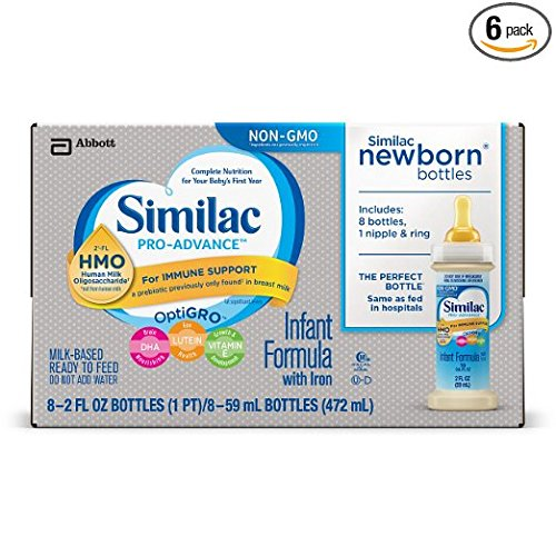 Similac Advance Non-GMO Newborn Infant Formula with Iron, Stage 1, Ready-to-Feed bottles, 2 fl oz, 96 count bottles