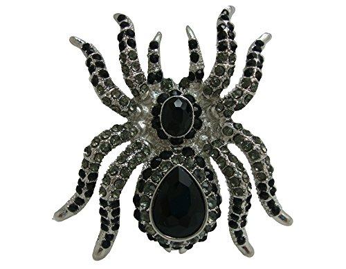 TTjewelry Classic Vintage Spider Brooch Pin Black Rhinestone Crystal Halloween Jewelry