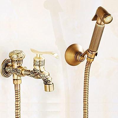 BOCOMO Antique Brass Wall Mounted Bidet Sprayer Head Toliet Bidet Hand Held Portable Bidet Sprayer Shattaf Toilet Shower Spray Set