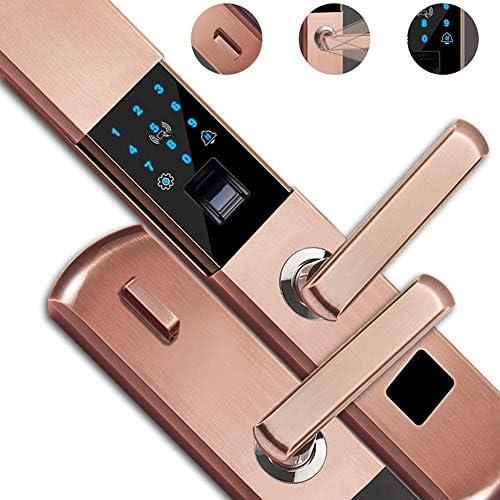 電子ドアロック アルミニウム合金5-IN-1アンチ泥棒電子のスマートドアロックAPPタッチパスワードキーパッドカード指紋セキュリティロック 電子錠 (Color : Gold, Size : One size)
