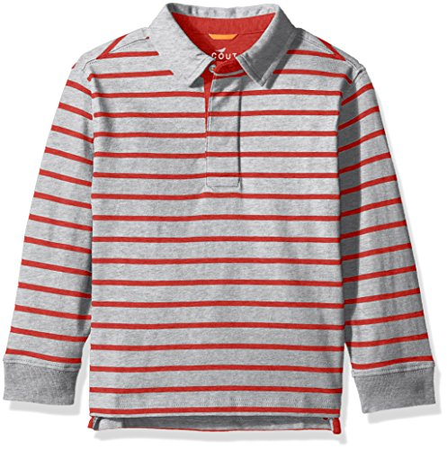 Scout + Ro Big Boys' Stripe Rugby Shirt, Grey Heather/Apple Red, 12