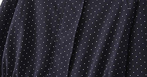 Blu Lunga Zip A Pois Moda In Ragazze Con Baggy La Casual Trench Vita Cappotto Donna Manica Giacca Scuro Partito Vintage Cappotti Giovane Giubbotto Autunno Vento Giacche Elastico Elegante OqFwR