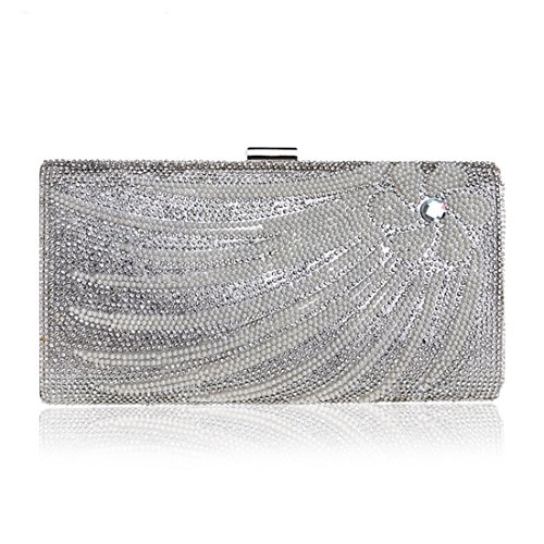 Evening Diamond evening Banquet Color America FLY bag Silver encrusted Dinner Silver Europe Bag Ladies Bag Bag And Fly53 Clutch q475w6