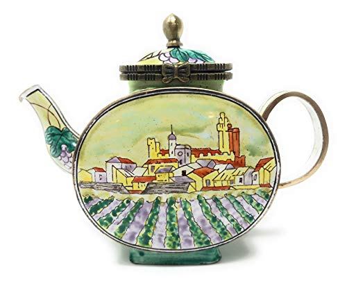 Kelvin Chen Vineyard Enameled Miniature Teapot with Hinged Lid, 4.25 Inches Long ()