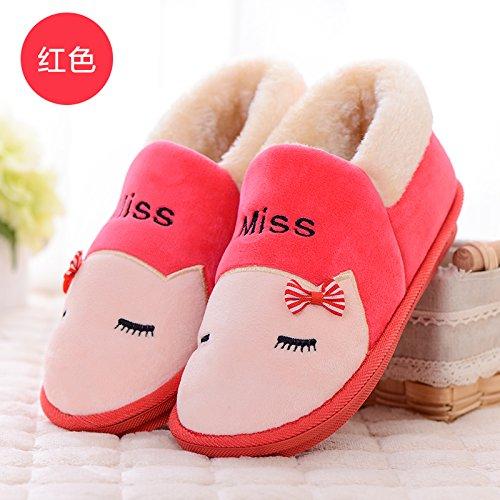 pacchetto uomini impermeabile Il soggiorno scarpe con DogHaccd caldo anti incantevole slittamento ciabattine spessa pantofole rosso2 donne Pu cotone e matura home inverno wqwF8tX
