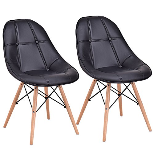 Giantex Leather Dining Chairs Set of 2 PU Upholstered Modern Style Mid-Century Tufted Nailhead Back Wood Legs Armless DSW Side Chair for Living Room Dining Room Kitchen (Black)