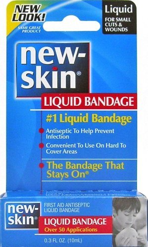 New-Skin Liquid Bandage, First Aid Liquid Antiseptic, Over 50 Applications, 0.3 Fluid Ounce Pack of 3