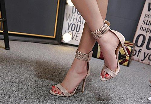 Stiletto Aprikosenfarben Sandale Knöchelriemchen Schnalle Offene Damen Zehen mit Basic Aisun AYwzHqXn