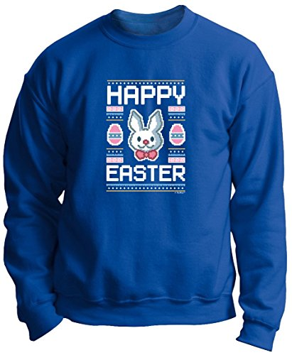 Easter Baskets Kids Easter Gifts Easter Eggs Ugly Easter Sweater Pattern Funny Easter Bunny Premium Crewneck Sweatshirt Small Royal