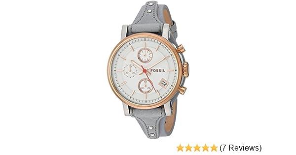 e996c1e9e9f Amazon.com: Fossil Women's ES4045 Original Boyfriend Sport Chronograph Iron  Leather Watch: Watches