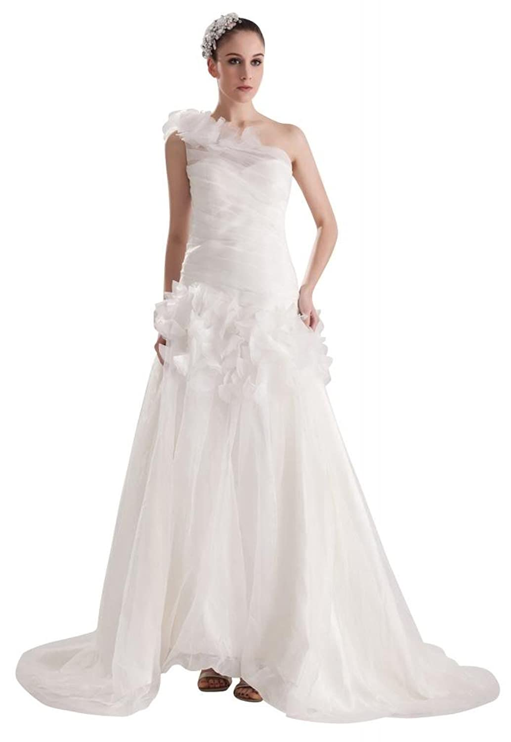 GEORGE BRIDE Elagnt New One Shoulder Formal Outdoor Wedding Dress