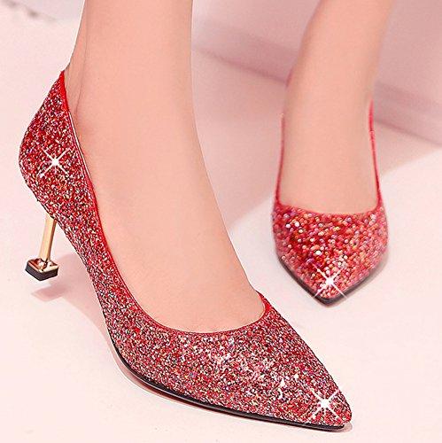 Easemax Femme Brillant Chaussure Pointue Paillettes Talon Moyen Club Escarpins Rouge iYTsFQh1