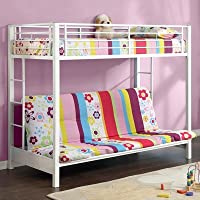 Walker Edison WLK1116 Sunrise Twin/Futon Bunk Bed in White
