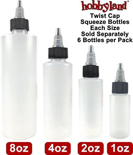 Hobbyland Squeeze Bottles with Twist Cap (4 oz, 6 Bottles)