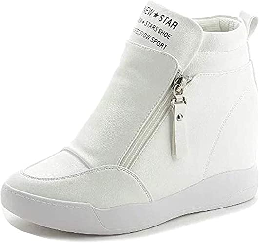 Womens Platform High Top Zip Fashion Sneakers Wedge Shoes Ankle Boots US 5.5~9