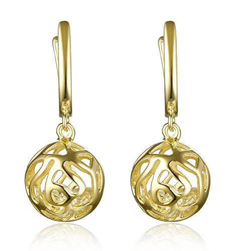 Lanfeny Gold Plated Sterling Silver Dangle Earrings Filigree Hollow Ball with Crystal Cubic Zirconia Encased - Exclusive Gold Plated Silver Jewellery