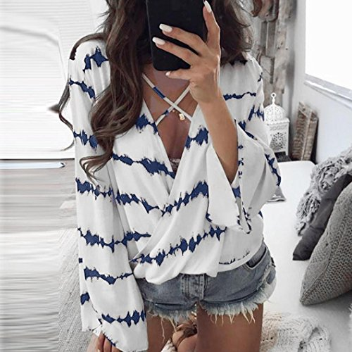 Mousseline Chemise Rayures Dcontracte Bleu Soie de en Tops Longues Blouse Manches Femmes Lache Toamen anqE8wxgBg