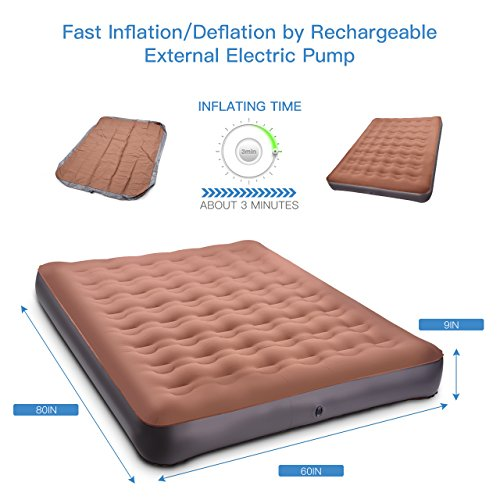 TOPELEK Air Mattress, Camp Air Mattress Queen Size with Portable Rechargeable Pump, 2 Pillows-Inflatable Air Bed for Outdoor Camping, Travel, Guest Bed,Tent Mattress, Height 9″