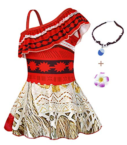 (AmzBarley Girls One-Piece Swimsuits Swim Skirts Kids Moana Adventure Bathing Suit Beachwear Pool Party Cover up with Accessories Size 10)