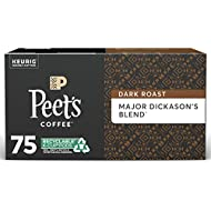 Peet's Coffee Major Dickason's Blend K-Cup Coffee Pods for Keurig Brewers, Dark Roast, 75 Pods
