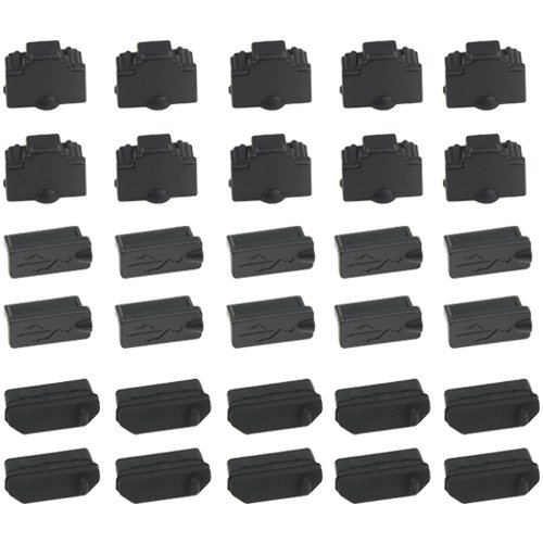 WMYCONGCONG 30 PCS Universal Laptop Silicon Dust Plugs Protector Stopper Cover for Ethernet Hub Port RJ45, USB A Type Socket, HDMI Female Port