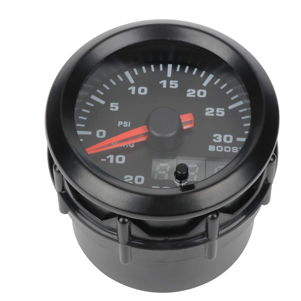 30-0 inHG 0-30 PSI with Color Change Button ECCPP Boost Gauge Car Motor Universal 2 inch 52mm Turbo Boost Gauge Meter Digital Style Smoke Tint Lens LED Electronic