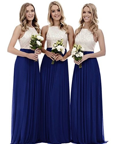 Zhongde Women's A Line Boho Country Lace Chiffon Bridesmaid Dress Evening Gown for Wedding Royal Blue Size 16