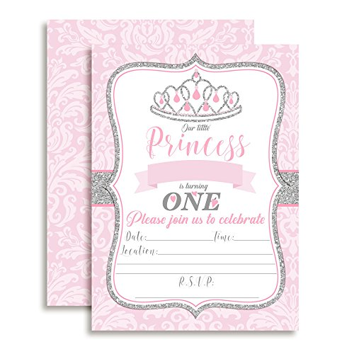 (Pink and Silver Damask Princess Birthday Party Invitations for Girls, 20 5