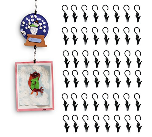 Wallniture Multipurpose Hanging Clip Set for Art and Crafts Steel Black 0.5 Inch 48 Clips]()