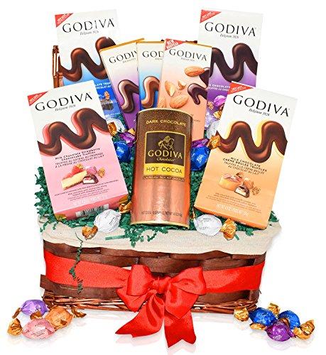 Godiva Christmas Chocolate & Hot Cocoa Variety Gift Basket - Godiva Variety of Assorted Truffles - Dark Almond, Milk, Dark and more - Christmas Gift Pack for Family, Friends, Him, Her