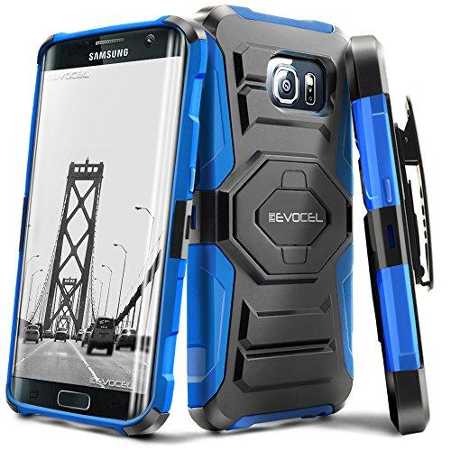Evocel Galaxy S7 Edge [New Generation] Rugged Holster Dual Layer Case [Kickstand][Belt Swivel Clip] For Samsung Galaxy S7 Edge (SM-G935 / 2016 Release) - Retail Packaging, Blue (EVO-SAMG935-XX02)