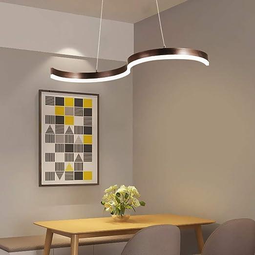 40W Comedor moderno Lámpara colgante LED 4000K Luces colgantes de luz natural Diseño curvado hermoso Aluminio marrón Lámparas suspendidas Sala de estar Dormitorio Iluminación del techo: Amazon.es: Iluminación