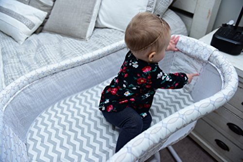 Best Halo Bassinet Mattress Pad - & Sheet Cover Protector, Waterproof Fitted Sheets for Halo Swivel Sleeper, Hypoallergenic, White & Grey Chevron Design for Baby Boy & Girl, Smart Elastic Band Design by Amy Carinn Collection (Image #7)